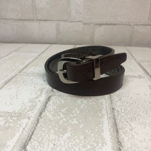Michael Kors Maroon and Silver Reversible Belt M